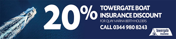 Banner: 20% Towergate Boat Insurance Discount for Quay Marina berth holders, Call 0344 980 8243